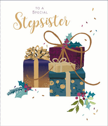 Special Stepsister Embellished Christmas Greeting Card