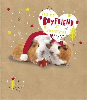 For My Boyfriend Embellished Christmas Greeting Card