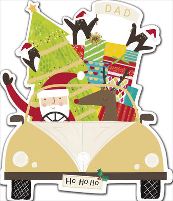 Dad Embellished Die Cut Christmas Greeting Card