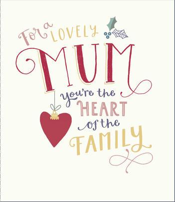 Lovely Mum Embellished Christmas Greeting Card