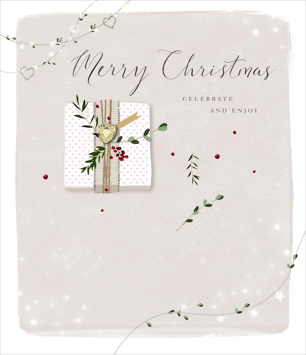 Merry Christmas Embellished Christmas Greeting Card