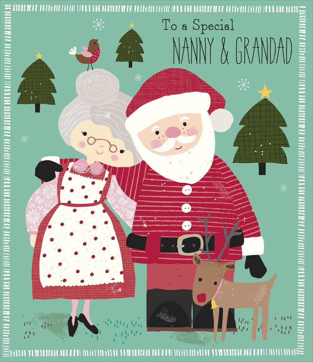 Nanny & Grandad Glittered Christmas Greeting Card