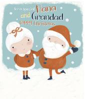 Nana & Grandad Glittered Christmas Greeting Card