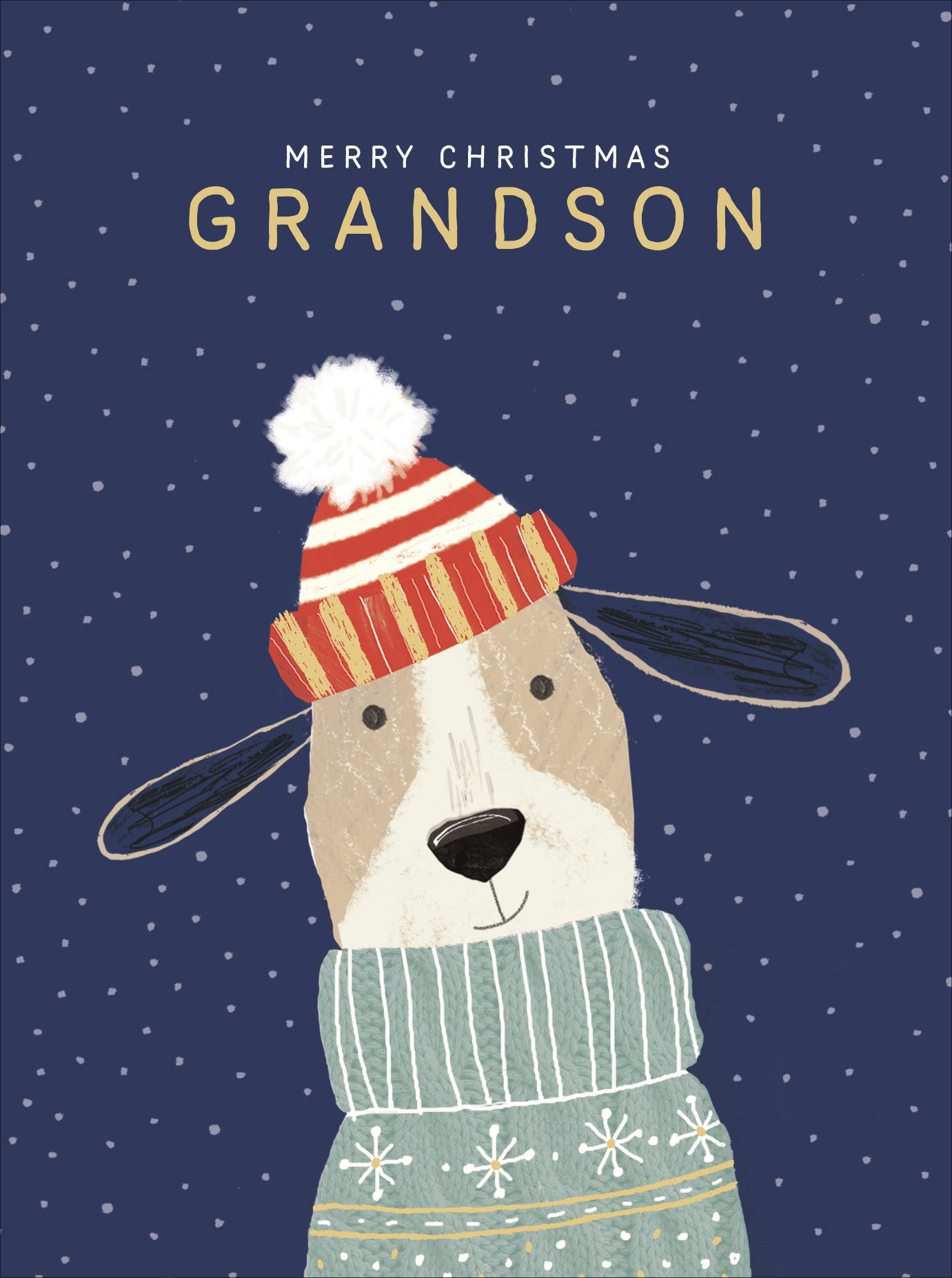 Grandson Cute Foiled Christmas Greeting Card Special Xmas Cards