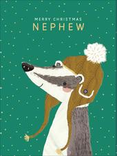 Nephew Cute Foiled Christmas Greeting Card