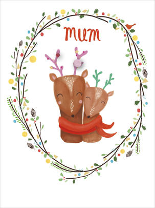 Mum Cute Pom Pom Christmas Greeting Card