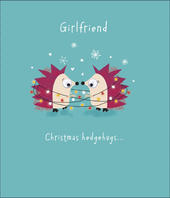 Girlfriend Cute Hedgehog Googly Eyes Christmas Greeting Card