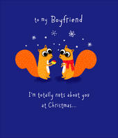 Boyfriend Cute Squirrel Googly Eyes Christmas Greeting Card