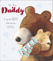 Big Hug Daddy Cute Albert Bear Christmas Card