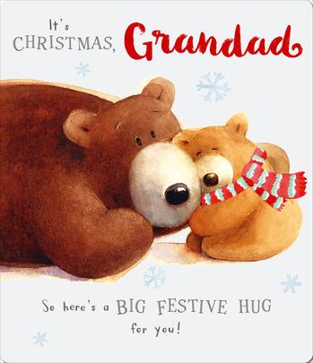 Big Hug Grandad Cute Albert Bear Christmas Card