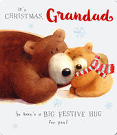 Big Hug Grandad Cute Albert Bear Christmas Card