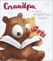 Grandpa Cute Albert Bear Christmas Card