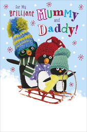 Mummy & Daddy Penguin Pals Christmas Card