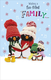 Fun-Filled Family Penguin Pals Christmas Card