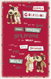 Boofle Girlfriend Embellished Christmas Greeting Card
