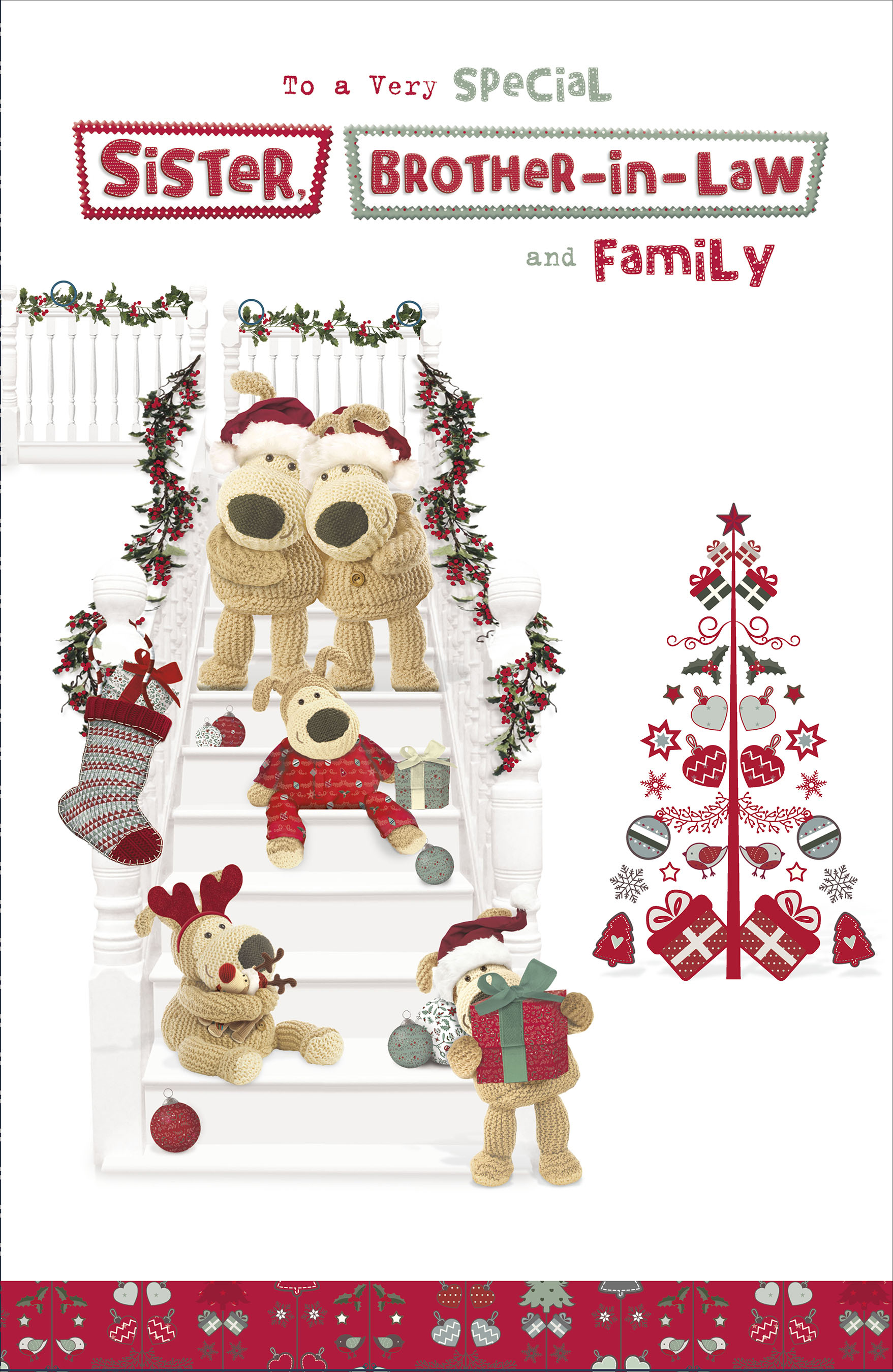 Christmas Wishes Card.Boofle Sister Brother In Law Family Christmas Greeting Card