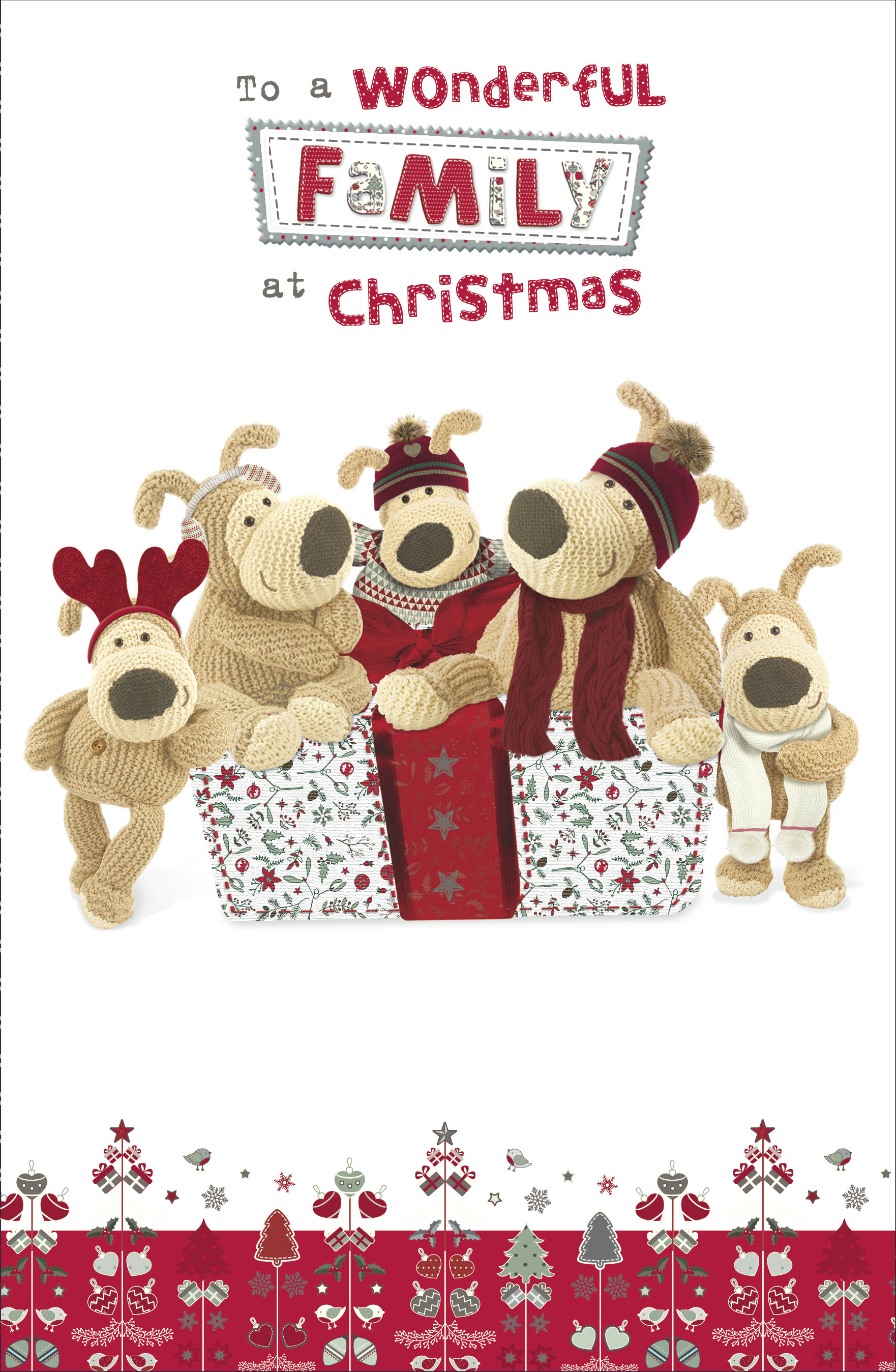 boofle wonderful family christmas greeting card foiled