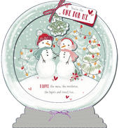 One I Love 3D Snow Globe Christmas Greeting Card