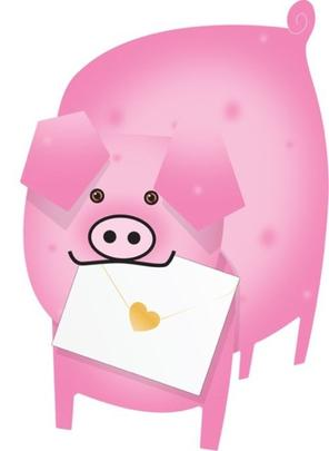 Piggy 3D Special Delivery Animal Greeting Card