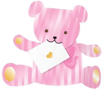 Pink Bear 3D Special Delivery Animal Greeting Card