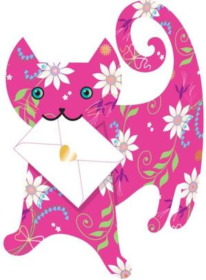 Pink Cat 3D Special Delivery Animal Greeting Card