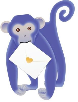 Monkey 3D Special Delivery Animal Greeting Card