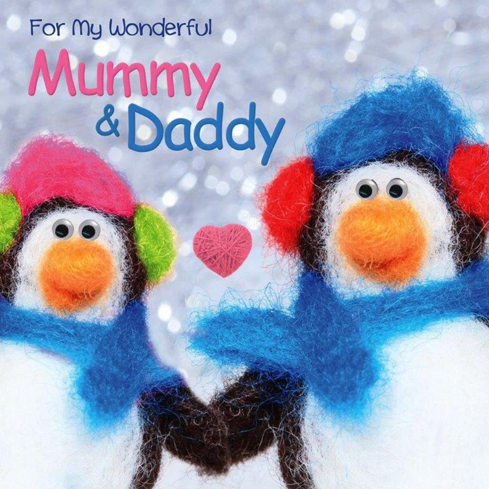 Mummy & Daddy Googlies Christmas Card
