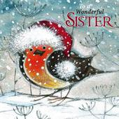 Wonderful Sister Googlies Christmas Card