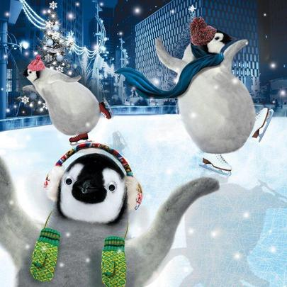 Ice Skating Penguins Googlies Christmas Card