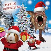 Dinosaur Googlies Christmas Card