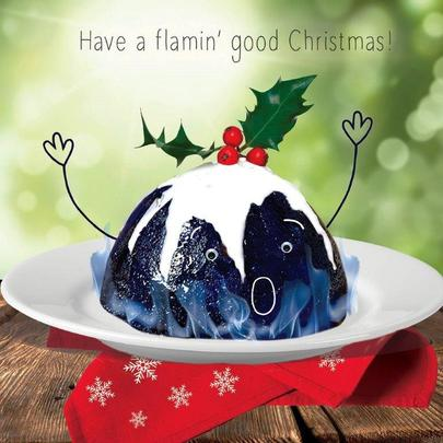 Flaming Pudding Googlies Christmas Card