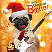 Brother Pug Dog Googlies Christmas Card