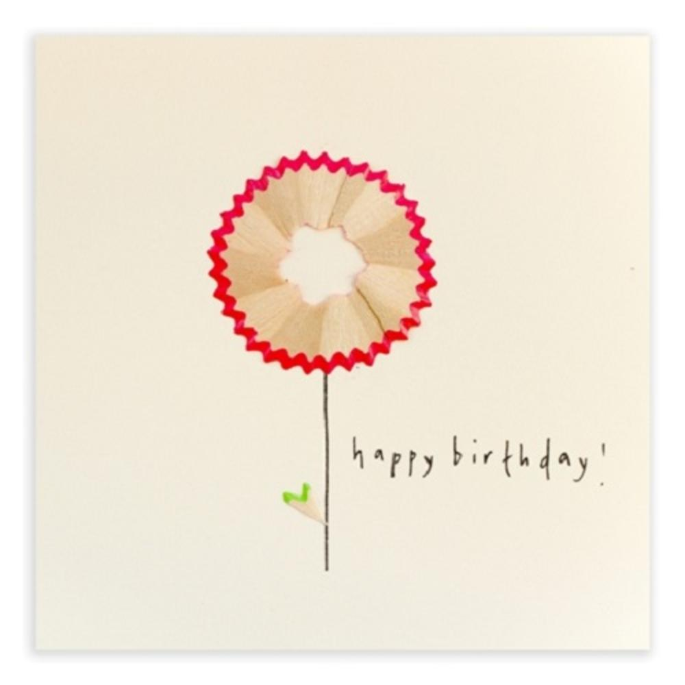Flower Happy Birthday Pencil Shavings Card