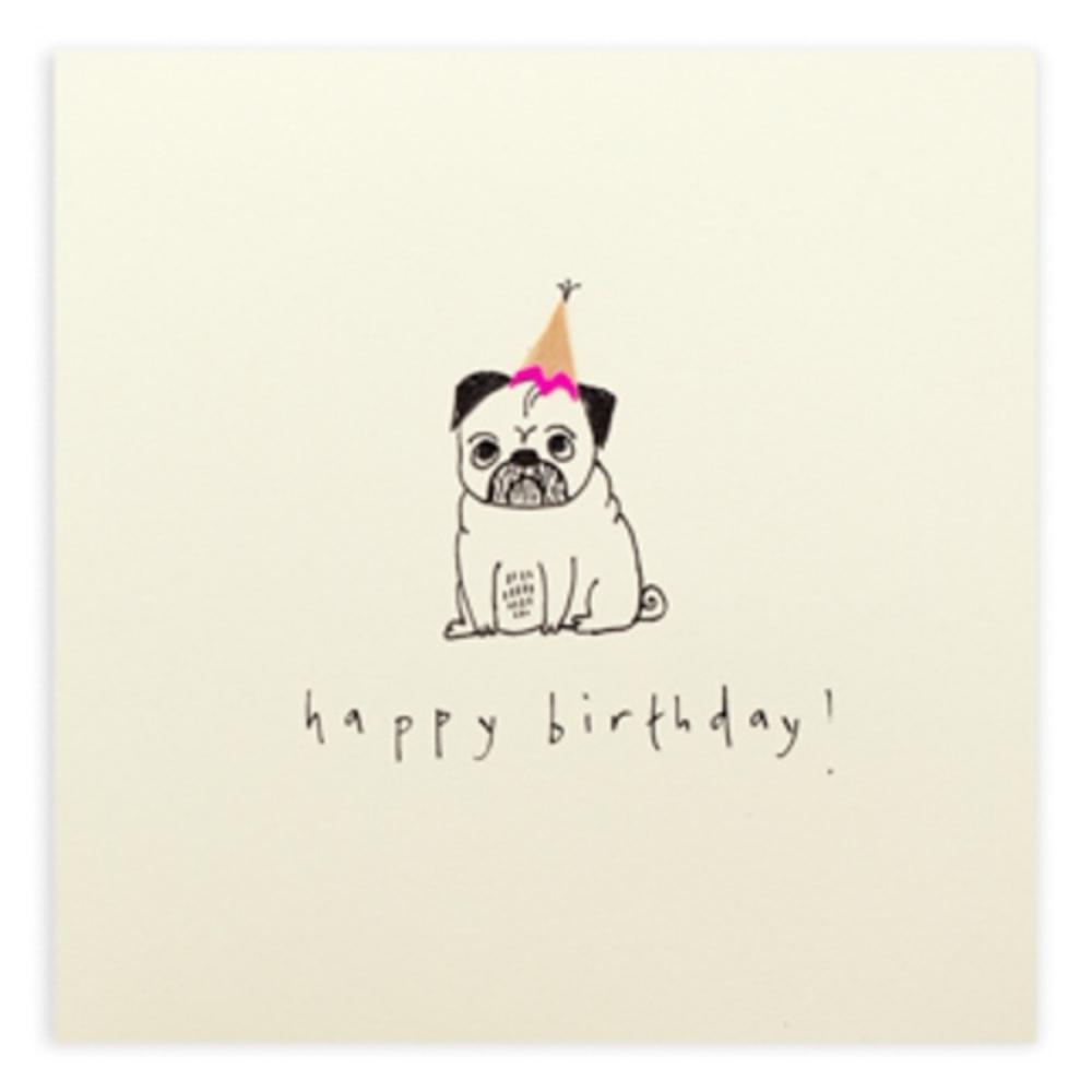 Pug Dog Happy Birthday Pencil Shavings Card