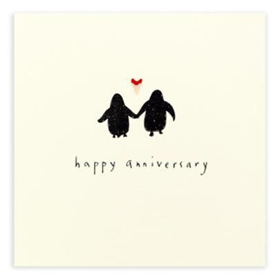 Happy Anniversary Penguin Pencil Shavings Greetings Card