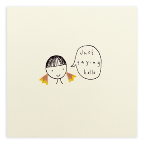 just saying hello pencil shavings blank greeting card cards
