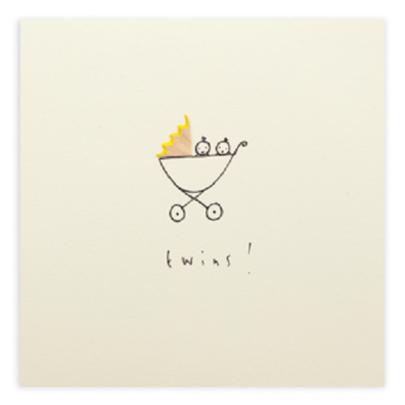 New Baby Twins Pencil Shavings Greetings Card