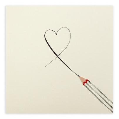 Love Heart Pencil Shavings Blank Greeting Card