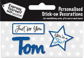 Tom Blue Name Sticker DIY Greeting Card Toppers