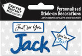 Jack Blue Name Sticker DIY Greeting Card Toppers