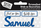 Samuel Blue Name Sticker DIY Greeting Card Toppers