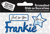 Frankie Blue Name Sticker DIY Greeting Card Toppers