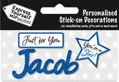 Jacob Blue Name Sticker DIY Greeting Card Toppers