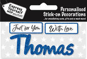 Thomas Blue Name Sticker DIY Greeting Card Toppers