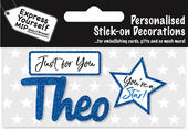 Theo Blue Name Sticker DIY Greeting Card Toppers