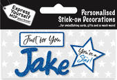 Jake Blue Name Sticker DIY Greeting Card Toppers