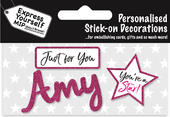 Amy Pink Name Sticker DIY Greeting Card Toppers
