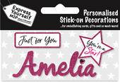 Amelia Pink Name Sticker DIY Greeting Card Toppers