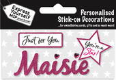 Maisie Pink Name Sticker DIY Greeting Card Toppers
