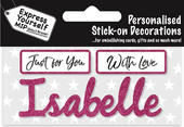 Isabelle Pink Name Sticker DIY Greeting Card Toppers